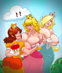 ass big_ass big_breasts breast_expansion breasts mushroom nipples princess_daisy princess_peach princess_rosalina super_mario_bros. super_mario_galaxy volupop