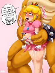ahe_gao big_breasts big_penis blush bowser breasts carrying clothed_sex cum cum_filled cum_inside cum_leaking cum_overflow dildo drooling excessive_cum female from_behind helpless huge_belly huge_cock human inflation interspecies jlullaby koopa male monster penis princess_peach rolling_eyes scalie size_difference stomach_bulge super_mario_bros. suspension tears torn_clothes torso_grab