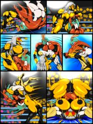 anthro arthropod breasts comic cricket english_text female hawlucha insects male muscular muscular_female nintendo nipples nude pain pokemon pussy queen_delia saesar saliva text video_games wasp wrestling