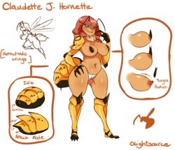 2016 antennae anthro anus areola arthropod big_breasts black_skin blush breasts camel_toe claudette_(lightsource) claws clothing english_text female grey_eyes hair hi_res hornet insects lightsource long_hair model_sheet navel nipples panties pink_hair solo standing text thick_thighs underwear wasp wide_hips wings yellow_skin