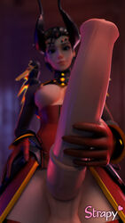 3d animal_genitalia areolae blender breasts devil_mercy dickgirl erection futa_only futanari horsecock huge_cock looking_at_viewer mercy nipples overwatch penis solo strapy taker_pov