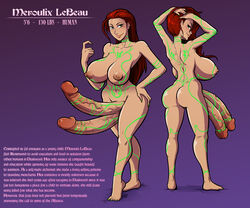 areola big_breasts breasts character_sheet dickgirl double_penis erection futa_solo futanari huge_breasts huge_cock intersex large_breasts long_hair nipples nude penis pinup red_hair solo sparrow tattoo text