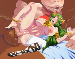 1_girl boris_(noborhys) breasts cum dkir donkey_kong donkey_kong_country edit green_eyes green_hair heart huge_breasts interspecies jewelry kid_icarus open_mouth palutena sex super_smash_bros. zoophilia