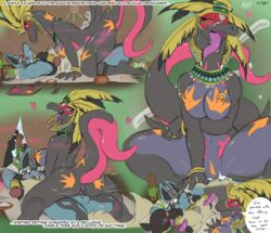 1girl 2boys all_fours armpits back big_ass big_breasts black_eyes black_fur black_skin blue_fur blush bodypaint bondage bound breasts brown_background closed_eyes cum cum_in_pussy cum_inside english_text eyelashes fangs female female_domination fur furry glans green_background grey_skin headdress heart interspecies looking_at_viewer looking_back lucario male markings motion_lines multiple_images nintendo nipple_piercing nipples open_mouth orange_nipples penetration penis pheromones piercing pink_skin pokemon pokemon_dppt pokemon_sm purple_eyes purple_sclera purple_skin pussy pussy_juice red_eyes riding rope salandit salazzle scalie sex signature simple_background slit_eyes slit_pupils smile spread_legs straight sweat tail tent text tongue tongue_out tribal vaginal_penetration video_games wet white_fur zerofox1000