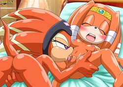 2girls breasts cunnilingus female female_only mobius_unleashed palcomix pussy sega shade_the_echidna sonic_(series) tikal_the_echidna yuri