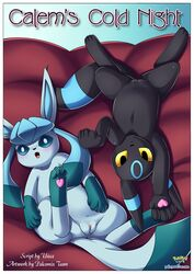 2016 bbmbbf bed blush canine comic cover cover_page eeveelution fangs female flat_chested glaceon heart inviting looking_at_viewer mammal nintendo palcomix palcomix_vip pokemon pokepornlive pussy text umbreon video_games