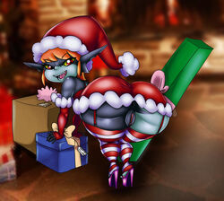 anus ass big_ass christmas female gift high_heels humanoid imp imp_midna looking_at_viewer looking_back midna nintendo no_panties present pussy santa_costume santa_hat solo the_legend_of_zelda thecon tisinrei twili twilight_princess