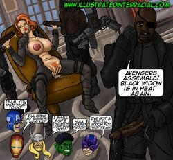 avengers bbc big_penis black_widow captain_america cum cum_in_mouth cum_in_pussy dark-skinned_male dark_skin english_text hawkeye holding_penis hulk illustrated-interracial interracial iron_man large_breasts marvel_comics nick_fury red_hair thor threesome