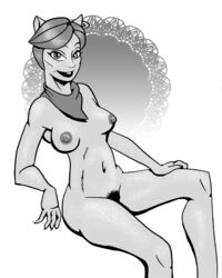 breasts canine clawdeen's_mom female hair humanoid looking_at_viewer mammal mature_female monochrome monster_high pubes scarf short_hair solo unknown_artist were werewolf