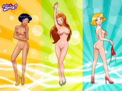 alex_(totally_spies) ass bikini breasts clover_(totally_spies) female female_only gyrfalcon65 high_heels human multiple_females nipples pussy sam_(totally_spies) topless totally_spies