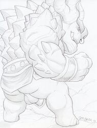 ass backsack balls draal dudebulge fighting_stance flaccid greyscale horn male male_only monochrome mostly_nude pencil_(artwork) penis perineum rear_vow signature solo standing traditional_media_(artwork) troll trollhunters uncut