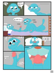 breasts cartoon_network comic english_text female gumball_watterson male nicole_watterson nipples nude penis text the_amazing_world_of_gumball weirdoxs