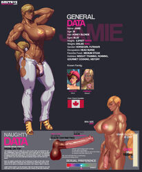 abs animal_genitalia animal_penis aryan balls big_balls big_breasts blonde_hair blue_eyes breasts brown_skin character_sheet courtney_(dmitrys) dickgirl dmitrys english_text equine_penis eyewear glasses hair huge_cock humanoid intersex muscular penis pointy_ears solo text
