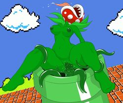 breasts cloud female nipples open_mouth penetration piranha_plant super_mario_bros. teeth tentacle tongue tube