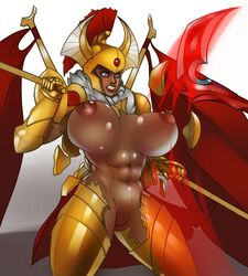 dota female large_boobs lewdreaper muscular muscular_female pussy tresdin_the_legion_commander video_games wardrobe_malfunction