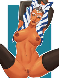 1girl ahsoka_tano alien armpit armpits belly blue_eyes breasts clone_wars disney female female_only large_breasts legs naavs navel nipples orange_skin pussy solo spread_legs star_wars tagme thighs togruta vagina