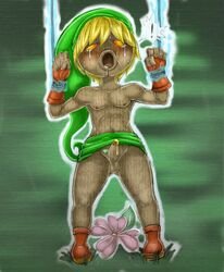 ! blonde_hair blush boots bound clothing crying deku_link deku_scrub erection flower footwear girly gloves hair hat link majora's_mask male male_only nintendo penis plant skirt solo tears the_legend_of_zelda video_games wood young