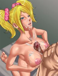 barefoot big_breasts big_penis big_testicles breasts cum cum_on_breasts cum_on_face juliet_starling lollipop_chainsaw naranjou nipples nude paizuri penis testicles