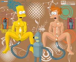 abstract_art anal anus balls bart_simpson bender_bending_rodriguez bukakke crossover gay long_arms orange_hair penis pubes robot the_simpsons threesome x-ray