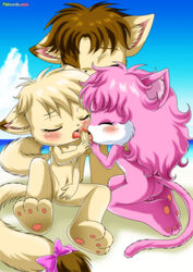 2girls angel_(little_tails) annie_(little_tails) april_(little_tails) bbmbbf feline furry little_tails oral palcomix tagme