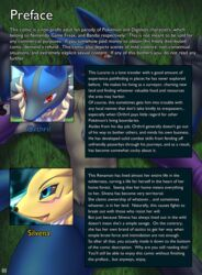 2016 absurd_res anthro blush canine comic digimon english_text female hi_res lucario male mammal mykiio nintendo pokemon red_eyes renamon text video_games