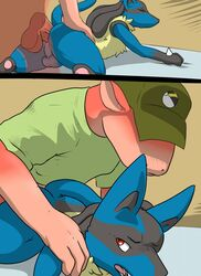 anal anal_sex anus ass bed clothing comic dragon duo erection lizardlars lucario male nintendo on_bed penetration penis pokemon uncut video_games yaoi