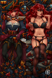 breasts league_of_legends lingerie miss_fortune red_hair stockings