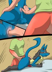 anal anal_sex anus ass bed clothing comic dragon duo fingering lizardlars lucario male nintendo on_bed penetration penis pokemon uncut video_games yaoi