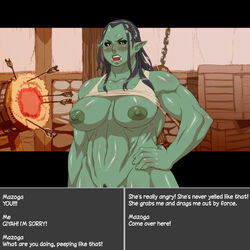 areola big_breasts blush breasts female green_skin humanoid looking_at_viewer mazoga_the_orc nezumi nipples not_furry orc pussy teeth text the_elder_scrolls video_games