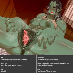 anus areola big_breasts blush breasts clitoris drooling erect_clitoris female green_skin humanoid masturbation mazoga_the_orc nezumi nipples not_furry orc pussy pussy_juice saliva spread_pussy spreading steam sweat text the_elder_scrolls urethra video_games