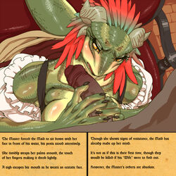 argonian black_nails blush breasts clothing colored_nails feathers female horn human lifts-her-tail looking_back maid_uniform male mammal nezumi penis scalie sweat text the_elder_scrolls uniform video_games yellow_eyes yellow_sclera