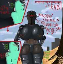! 1boy 1girl ? anilingus anon anus assaultron big_ass big_breasts breasts building claws close-up cloud comic depth_of_field desert detailed_background dialogue dominant english_text fallout featureless_crotch female femdom grass heart huge_breasts humanoid insult looking_at_viewer machine male mature_female nude one-eyed options question radiation red_eyes rimjob robot rock rust seductive sex shadow shiny signature size_difference skunk_bunk sky sound_effects standing straight suggestive talking_to_viewer technophilia text tongue tree wasteland wide_hips