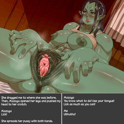 anus areola big_breasts blush breasts clitoris female green_skin humanoid masturbation mazoga_the_orc nezumi nipples not_furry orc pussy pussy_juice spread_pussy spreading steam sweat text the_elder_scrolls urethra video_games