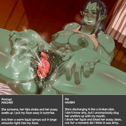 anus areola big_breasts blush breasts clenched_teeth clitoris drooling erect_clitoris female green_skin humanoid masturbation mazoga_the_orc nezumi nipples not_furry orc orgasm pussy pussy_ejaculation pussy_juice saliva spread_pussy spreading steam sweat teeth text the_elder_scrolls urethra video_games
