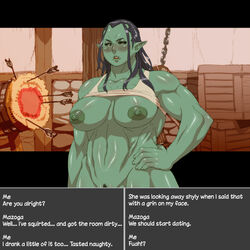 areola armor arrow big_breasts blush breasts dummy female green_skin humanoid mazoga_the_orc melee_weapon nezumi nipples not_furry orc pussy sword target text the_elder_scrolls video_games weapon