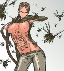 arthropod big_breasts breasts eyewear female glasses green_eyes human infestation insects mammal not_furry trypophilia trypophobia wasp what なめ雄
