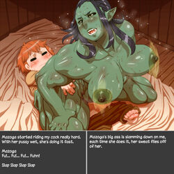 areola big_breasts blush bouncing_breasts breasts drooling female green_skin human humanoid looking_back male mammal mazoga_the_orc nezumi nipples not_furry on_top orc reverse_cowgirl_position saliva sex soles steam sweat text the_elder_scrolls video_games