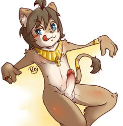 ankh balls blue_eyes blush bracelet brown_hair erection feline fur hair humanoid_penis jewelry lion male male_only mammal navel nipples penis retracted_foreskin ring ruby_(pixiv) sitting solo tan_fur teenager tongue tongue_out uncut young