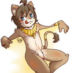 ankh blue_eyes blush bracelet brown_hair feline fur hair half-erect humanoid_penis jewelry lion male male_only mammal navel nipples partially_retracted_foreskin penis ring ruby_(pixiv) sitting solo tan_fur teenager tongue tongue_out uncut young