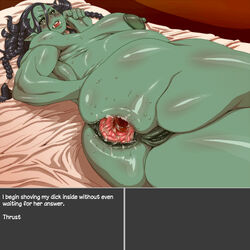 anal anus areola armpits bed big_breasts blush breasts female gaping gaping_anus green_skin humanoid invisible_penis looking_at_viewer looking_back mazoga_the_orc nezumi nipples not_furry orc pregnant pussy sweat text the_elder_scrolls video_games