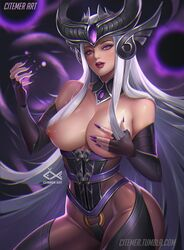 citemer league_of_legends long_fingernails purple_eyes silver_hair syndra