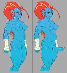 abs anthro biceps big_penis blue_skin breasts dickgirl female hair humanoid intersex muscles muscular muscular_female navel nipples nude pbrown penis pussy red_hair scar simple_background toned undertale undyne white_background yellow_eyes