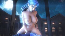 1boy 1girl 3d ana_amari animated black_hair breasts cowgirl_position dark_skin female fugtrup hat large_breasts long_hair male moon night nipples nude open_mouth overwatch penis pussy smile source_filmmaker
