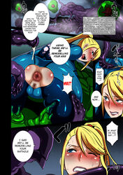 2014 alien blonde_hair blue_eyes bodysuit butcha-u clothing comic dialogue english_text female hi_res highres human interspecies male metroid monster nintendo not_furry penis ponytail samus_aran sex sf straight tentacle torn_clothing video_game video_games