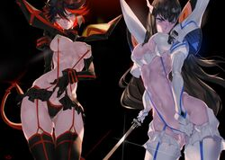 2girls abs adjusting_clothes armor black_background black_hair blue_eyes blush breasts cleavage embarrassed gluteal_fold highres holding holding_weapon junketsu katana kill_la_kill kiryuuin_satsuki large_breasts long_hair looking_to_the_side matoi_ryuuko multiple_girls navel red_hair revealing_clothes scissor_blade senketsu short_hair siblings sisters sweat sword underboob weapon yang-do