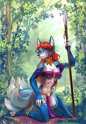 5_fingers anthro black_lips blue_eyes blue_nose breasts canine clothed clothing day eyelashes female fluffy fluffy_tail fox green_eyes hair heterochromia horn kneeling mammal melee_weapon midriff multi_tail navel outside polearm pussy red_hair smile solo sora sorafoxyteils spear weapon wide_hips