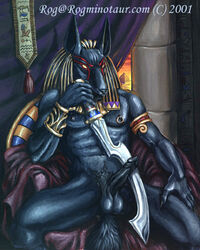 2001 anthro anubian_jackal anubis balls black_body canine collaboration colored deity erection jackal male mammal melee_weapon nipple_piercint penis rog_minotaur solo sword weapon werepuppy