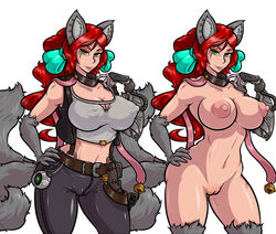 adjatha animal_humanoid big_breasts breasts camel_toe canine clothed clothing collar erect_nipples female fox fox_humanoid freckles green_eyes hair hand_on_hip humanoid long_hair mammal nipples nude pose pussy red_hair voluptuous