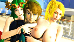 3d beer blonde_hair breasts cruise green_eyes green_hair link looking_at_viewer palutena sarah_bryant smile source_filmmaker the_legend_of_zelda virtua_fighter
