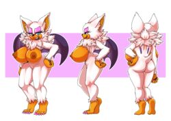 absurd_res anthro armpits ass bat big_breasts blue_eyes breasts fangs female fur hi_res huge_breasts mammal membranous_wings michiyoshi model_sheet muscular muscular_female nude rouge_the_bat simple_background solo sonic_(series) standing werebat white_fur wings